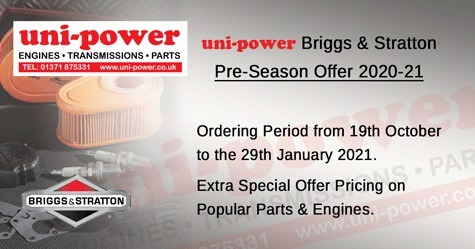 Uni-power are proud to announce the Briggs & Stratton Dealer Pre-Season Offer 2020-21